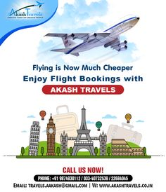 Flying is Now Much Cheaper Enjoy #Flight #Booking with Akash #Travels. plan your next trip through us at #Akash #Travels. For booking call us at +91 9874930112