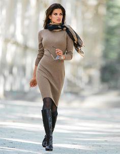 Schlichtes Strickkleid mit Kaschmir in den Farben taupe-melange, schwarz - taupe - im MADELEINE Mode Onlineshop