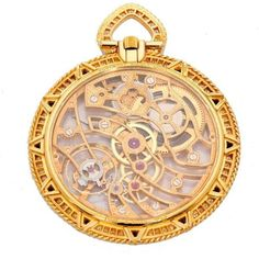 Audemars Piguet Yellow Gold Diamond Sapphire Manual winding Pocket... ($22,965) ❤ liked on Polyvore featuring jewelry, watches, gold jewellery, gold watches, gold pocket watch, gold diamond jewelry and yellow gold watches
