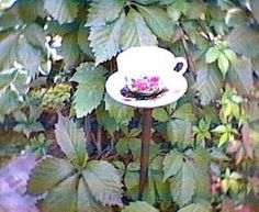 recycled garden art | Recycled Garden Art….Tea Cup and Saucer Feeder/Waterer | What's the ...