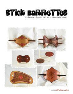 Stick Barrettes - PDF instant download - leathercrafting pattern