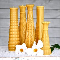 Patterned beeswax candles add a warming touch to the holiday table.