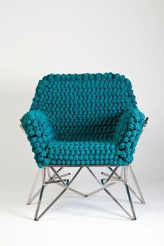 Eleven Crazily Crafty Chairs Oh my! Are you into this gorgeous turquoise chair? from the Fractal Collection by Nicole Tomazi Via Design Milk Funky Furniture, Home Furniture, Furniture Design, Office Furniture, Plywood Furniture, Deco Turquoise, Turquoise Chair, Love Chair, Take A Seat