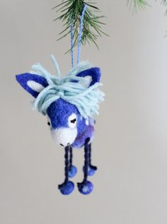Christmas Ornament Felted donkey Handmade toy by TwoSadDonkeys