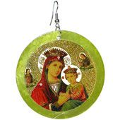 """Religious Images, on 2 3/8"""" Shell Disc Earrings, Virgin Mary and Baby Jesus http://www.girlprops.com"""