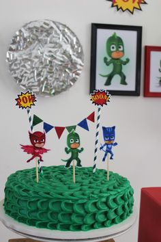 Pj Masks Birthday Cake, 4th Birthday Cakes, 3rd Birthday Parties, Boy Birthday, Birthday Activities, Party Activities, Pjmask Party, Festa Pj Masks, Kids Party Themes