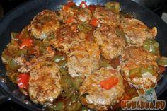 Рецепт: Турецкое блюдо из мясных котлет на овощах в оливковом масле