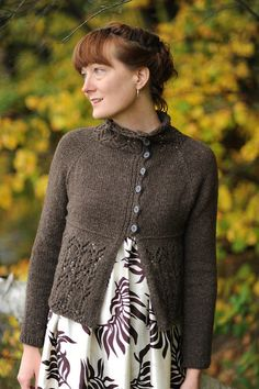 Fairwind by Cecily Glowik MacDonald - A lacy asymmetric cardigan knit in one piece from the top down in Bijou Spun Himalayan Trail