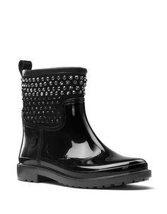 Michael Michael Kors Stone Studded Rain Boots Women's Black 9