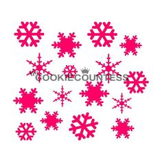 One of the most versatile designs for winter and Christmas cookies. Overall stencil size x PINK sections in image are the open sections. Stencils are plastic, washable and reusable. Snowflake Stencil, Snowflake Pattern, Snowflake Christmas Cookies, Cookie Countess, Cookie Decorating Supplies, Making Sweets, Fondant Cupcake Toppers, Icing Colors, Unicorn Cupcakes