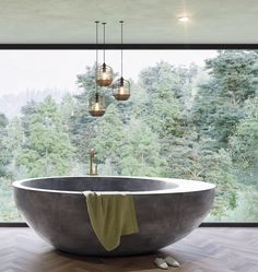 Exciting Bathtub Shower Combo Ideas For Wonderful Bathroom Area Design Concrete Bathtub, Stone Bathtub, Deep Bathtub, Cozy Bathroom, Bathroom Interior, Bathroom Taps, Parisian Bathroom, Shower Bathroom, Bathtub Shower Combo