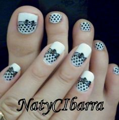 Black and white bow tie toes! Cute Toenail Designs, Bow Nail Designs, French Nail Designs, Black Nail Designs, Simple Nail Designs, French Nails, Bow Tie Nails, Cute Toe Nails, Polka Dot Nails
