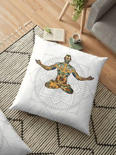 'Peace in mind, yoga style' Floor Pillow by Michalala Floor Pillows, Throw Pillows, Pilates Studio, Yoga Fashion, Pillowcases, Pillow Design, Cushions, Flooring, Photograph