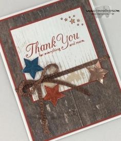 Stampin' Up! One Big Meaning And Wood Words Patriotic Thank You! | Stamps – n - Lingers
