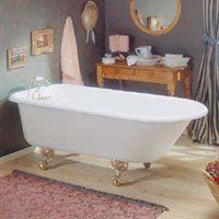 Traditional Cast Iron Bathtub with Faucet Holes in Wall of Tub