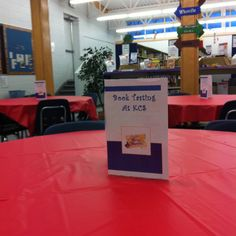 "Idea to use in library. Invite classes to a ""restaurant"" of books. Each table. School Library Lessons, Middle School Libraries, Elementary School Library, Library Skills, Library Games, Library Events, Library Activities, Library Books, Library Inspiration"