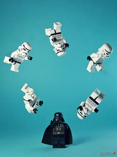 Darth Vader Juggling Storm Troopers, Legos, via ShortList Magazine.