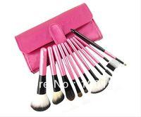 11 PCS Pro caliente rojo de la rosa compone el kit cepillos del maquillaje brocha de maquillaje conjunto con rollo de bolsa Envío Gratis
