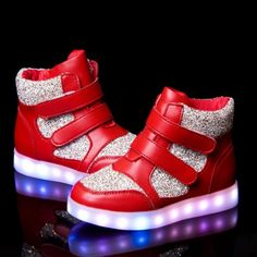 Red Kids High Tops LED Light Up Shoes