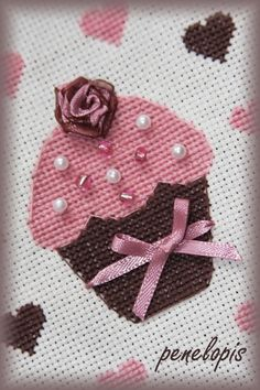 Cute cross stitch cupcake idea. Would be cute to add crystal sprinkles. :)