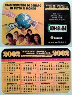 Calendarietto pubblicitario 2002 - Western Union - Money Transfer