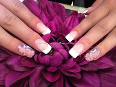 White gel coatings with 3d acrylic nail art