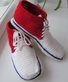 Тапочки крючком. Тапочки кеды.  Для мужчин.crocheted slippers sneakers