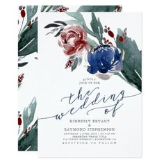 #Navy Blue and Burgundy Red Floral Modern Wedding Card - #weddinginvitations #wedding #invitations #party #card #cards #invitation #elegant
