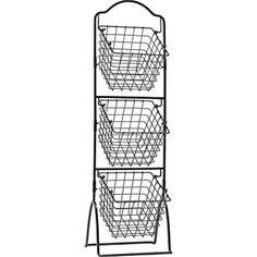 Gourmet 3-Tier Metal Market Basket Rack Kitchen Home Storage Organize New, Black #GourmetBasicsbyMikasa