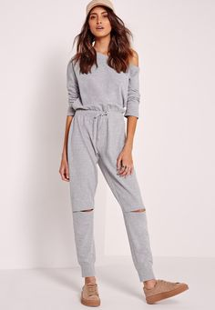 06beafc750d Missguided - Off The Shoulder Jumpsuit Grey