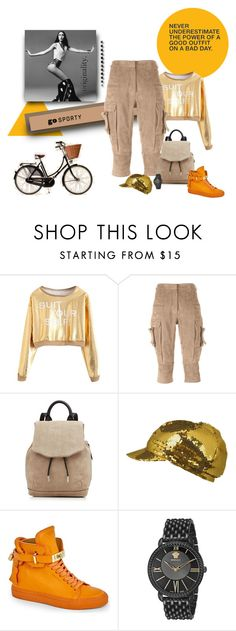 """""""Beigey orange FUN"""" by michelletheaflack ❤ liked on Polyvore featuring Balmain, rag & bone, BUSCEMI, Versace, polyvorecontest and sportystyle"""