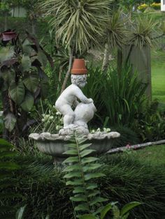 Pot-head garden humor ....Water Fountain