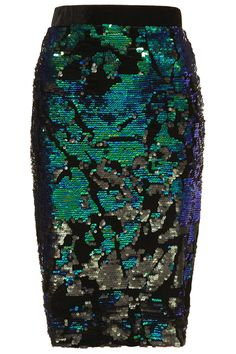 Topshop Limited Edition Sequin Velvet Midi Pencil Skirt - Green UK8/EU36/US4