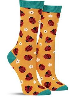 Bamboo Ladybug Socks | Womens Silly Socks, Dog Socks, Cute Socks, Lady Bug, Luxury Socks, Bamboo Socks, Sock Shop, Sock Animals, Fashion Socks