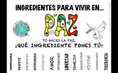 ingredientes para vivir en paz Peace Crafts, Peace Education, Spanish Songs, English Activities, Paint Colors For Living Room, Primary Classroom, Classroom Displays, English Class, Too Cool For School