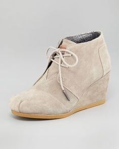 TOMS Suede Lace-Up Wedge Boot - Neiman Marcus  Ordered these today! Great for fall and to wear with skinny jeans.