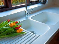 873 Corian sink in Glacier White, worktops are Whitecap Corian. White Corian Countertops, Corian Sink, Corian Worktops, Kitchen Countertops, Steel Kitchen Sink, Kitchen Sink Design, Concrete Kitchen, Stone Kitchen, Kitchen Sinks