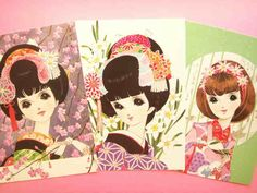 retro shojo manga postcards.    Illustrated by Miyako Maki.    She debuted as shojo manga cartoonist in 1957 in Japan.