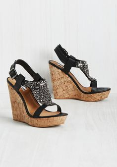 So, Wowza 'Bout It? Wedge. Presenting these cork platforms to your bestie, you pitch an edgy night out. #black #modcloth