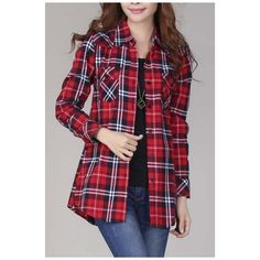 Women's Mid-Long Style Roll-Up Sleeve Plaid Shirt (45 CAD) ❤ liked on Polyvore featuring tops, long sleeve tops, purple shirt, roll top, plaid top and plaid button-down shirts