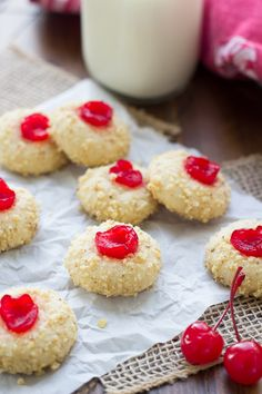Soft, melt in your mouth cherry cream cheese cookies. These holiday cookies are made with almond extract and marachino cherries and rolled in walnuts or pecans. The best Christmas cookie recipe! Green Desserts, Desserts To Make, Holiday Desserts, Delicious Desserts, Best Christmas Cookie Recipe, Holiday Cookies, Christmas Baking, Christmas Recipes, Christmas Treats