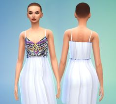 Embroidery Maxi Dress at Puresims • Sims 4 Updates