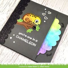 Chameleon Stamp & die cut on rainbow colored paper wheel so you can turn the wheel and change the colors of the chameleon.I have the stamp & die already! Pop Up Cards, Cute Cards, Scrapbooking Technique, Tarjetas Diy, Spinner Card, Lawn Fawn Blog, Slider Cards, Paper Crafts Origami, Interactive Cards