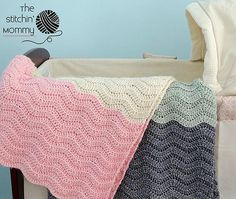"""Vivis Color Block Ripple Afghan ~ UPDATED MARCH 27, 2017 ~ intermediate level ~ approx. 46"""" x 48.5"""" ~ FREE - CROCHET - pretty"""