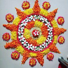 Diwali Decorations, Festival Decorations, Flower Decorations, Rangoli Designs Diwali, Flower Rangoli, Diy Home Repair, Pink Wallpaper Iphone, Happy Diwali, Flower Art