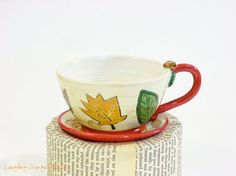 Just Leaves Cappuccino Cup and Saucer by laughingorangestudio, $42.00