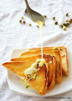 Here you will find instant version of Shahi tukda recipe. It is a healthy dessert as it uses very less butter. Let's see how to make shahi tukda recipe.