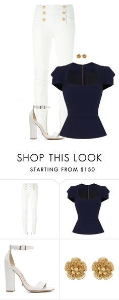"""""""Navy and White"""" by sena2003-e ❤ liked on Polyvore featuring Balmain, Roland Mouret, Schutz and Miriam Haskell"""