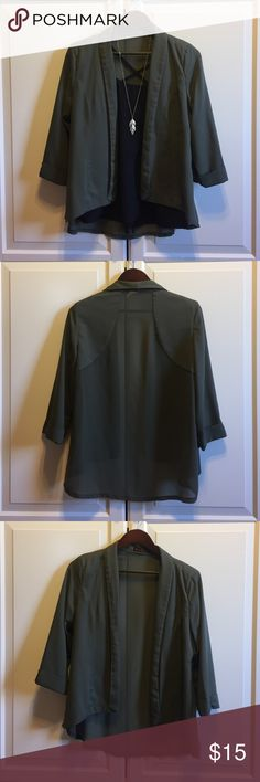 ally Australia evergreen sheer panel blazer Gorgeous and flows. Slight structure in the shoulders with a floating gem. Sheer paneling through the shoulders and back give this modern jacket a light fall feel. Thin lapels keep a slim look. Worn <5 times. 17 Sundays Jackets & Coats Blazers