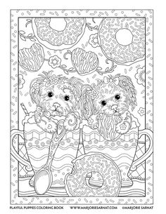 Coffee Pups Playful Puppies Coloring Book By Marjorie Sarnat